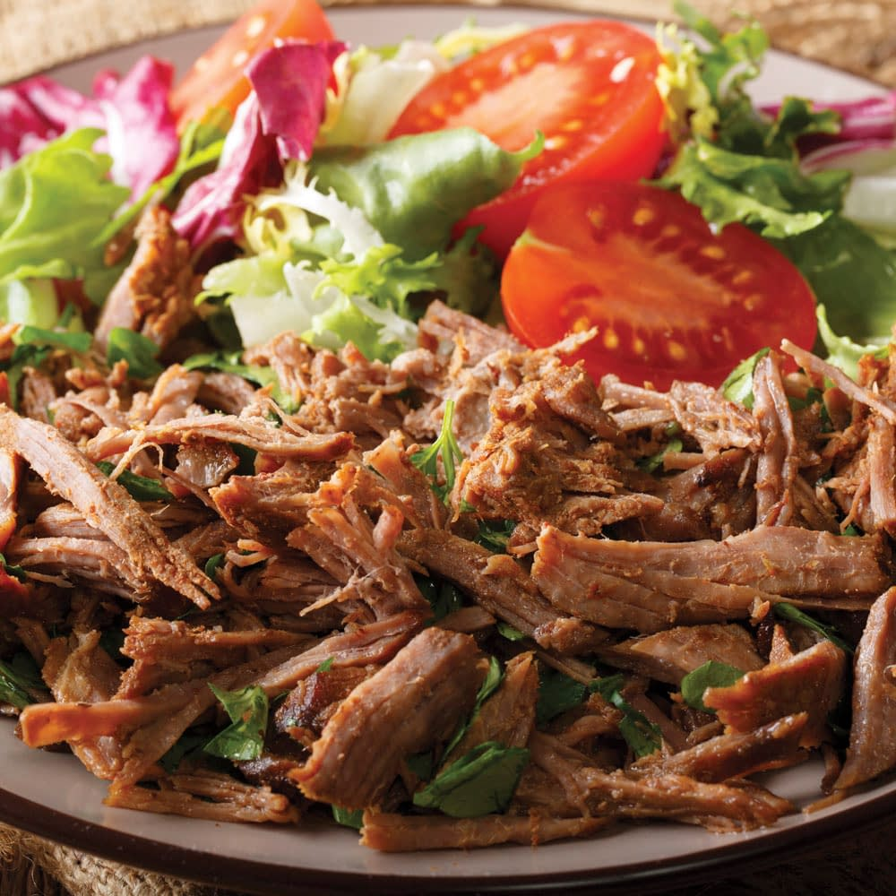 shredded beef with salad